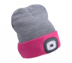Èiapka s èelovkou svetlo šedá/ružová, nabíjací, USB, obojstranná, UNI ve¾kos�