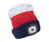 Èiapka s èelovkou, nabíjací, USB, biela/èervená/modrá, univerzálna ve¾kos�