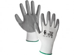 Potiahnuté rukavice ABRAK, bielo-šedé - PREDAJ PO 12 pároch