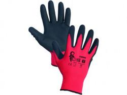 Potiahnuté rukavice ALVAROS, èerveno-èierne - PREDAJ PO 12 pároch