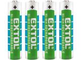 EXTOL ENERGY batérie nabíjacie 4ks, AAA (HR03), 1,2V, 1000mAh NiMh