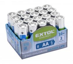 Batérie AA tužkové HR6 1,5V zink-chloridové 20ks EXTOL