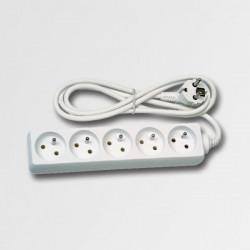 Predlžovací kábel 5 zásuvek biely 5m KL870593